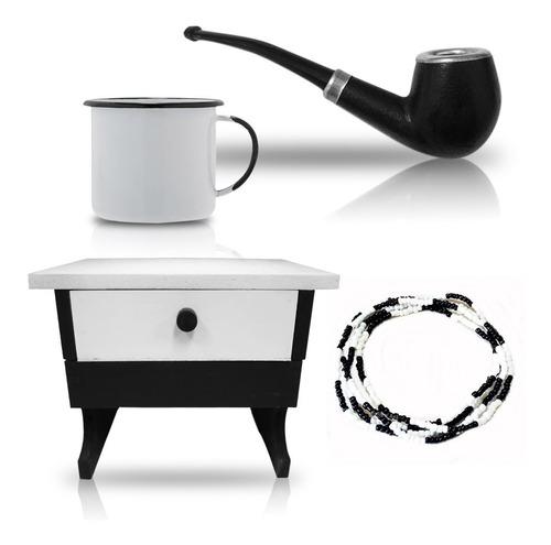 kit preto velho banco cachimbo guia caneca cafe