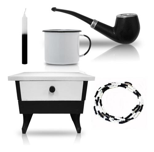 kit preto velho banco cachimbo guia caneca cafe com vela