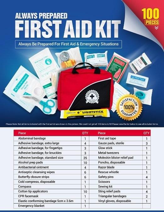 Kit primeiros socorros emerg ncia resgate completo 100 for First aid kits for restaurant kitchens