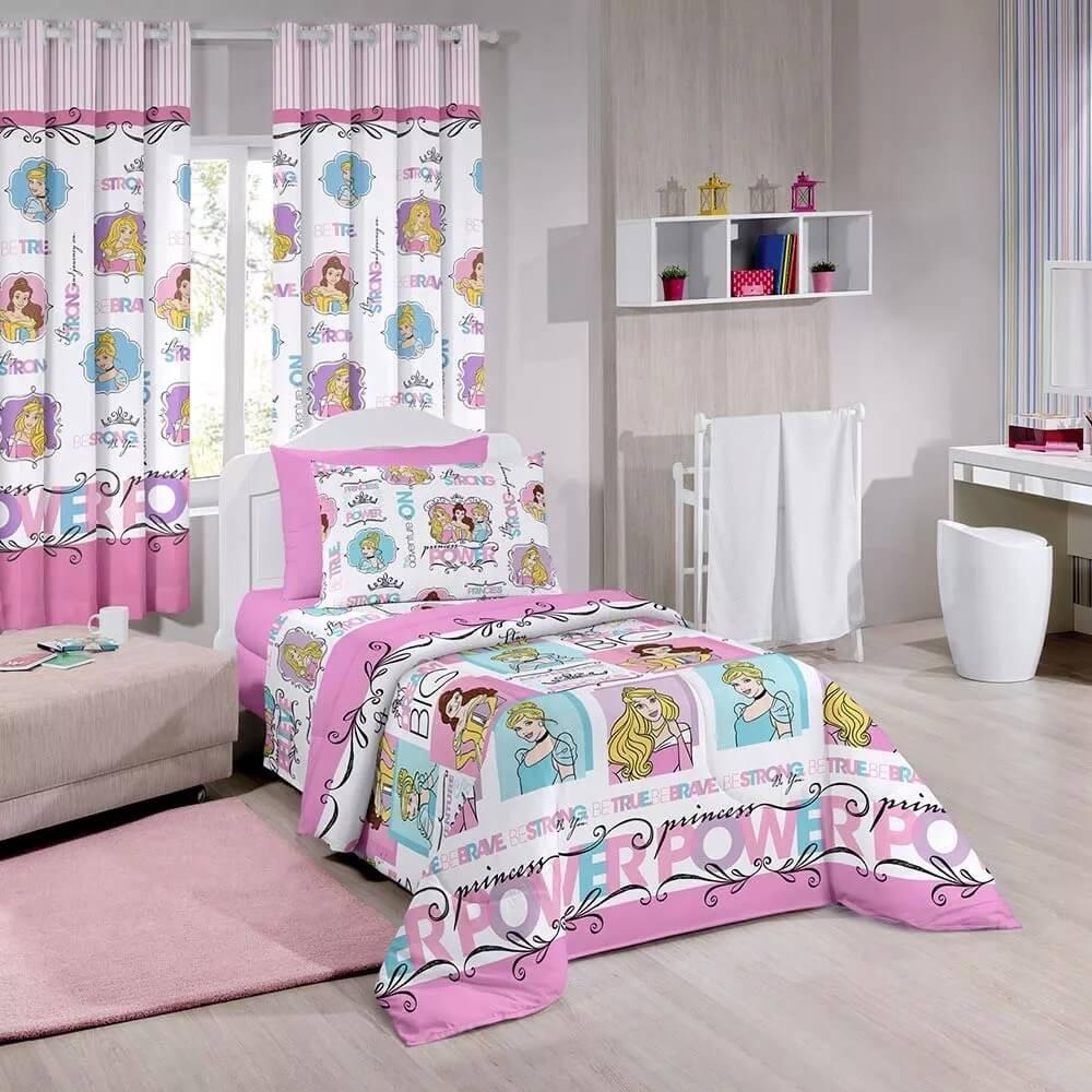 be4573609 Kit Princesa Bela Edredom + Jogo Lençol + Cortina Infantil - R$ 349 ...