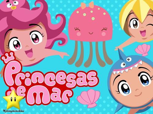 kit princesas 2 del mar diseñá tarjetas cajas cumples y mas