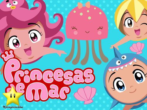kit princesas del mar diseñá tarjetas cajas y cumples y mas
