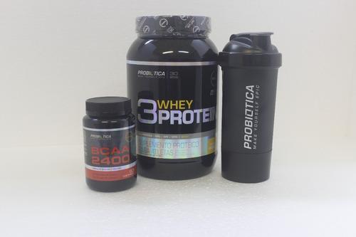 kit probiotica - whey protein + bcaa  + coqueleteira