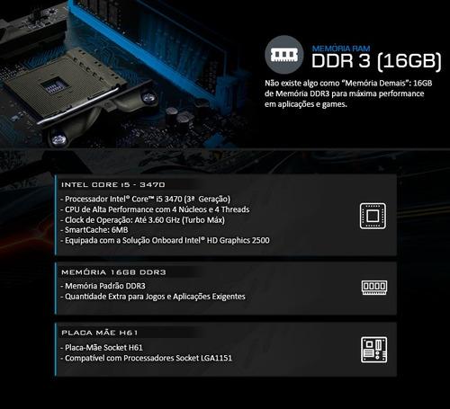kit processador i5 3470 + placa mãe  h61 + 16gb ddr3