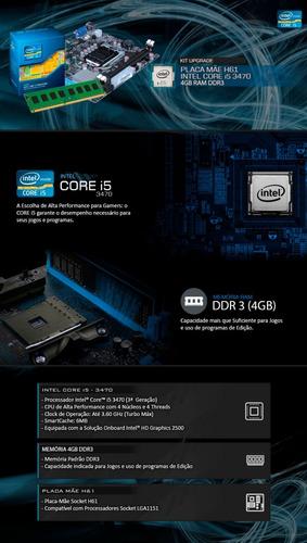 kit processador i5 3470 + placa mãe h61 + 4gb ddr3 + nfe