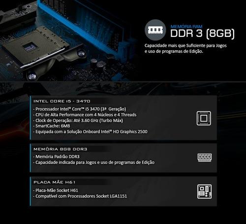 kit processador i5 - 3470 + placa mãe  h61 + 8gb ddr3 + nfe