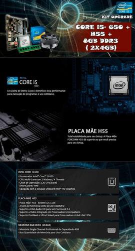 kit processador i5 650 - 3.2 ghz + placa h55 + 8gb + nfe