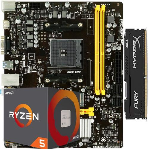 kit processador ryzen 5 2600 am4 placa mãe b450mh b450 8gb