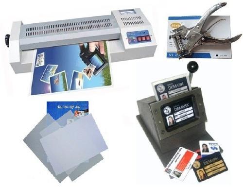 kit produção crachá cartão pvc laminadora cortador furador
