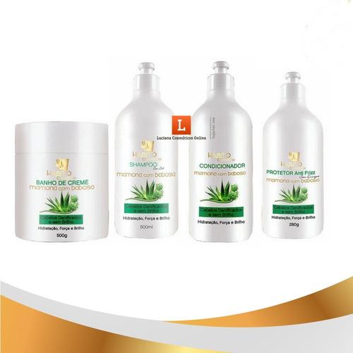 kit profissional hidratação capilar óleo de mamona e babosa