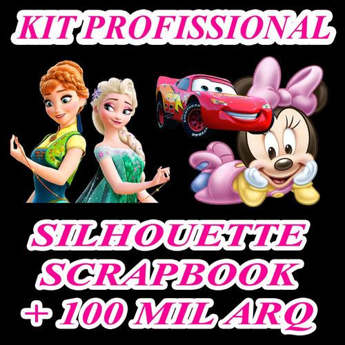 kit profissional silhouette + scrapbook + 210 festas prontas