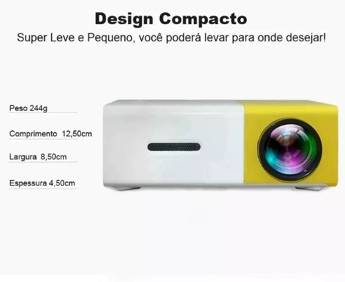 kit projetor led 600 lumens full hd 1080p + caixa de som