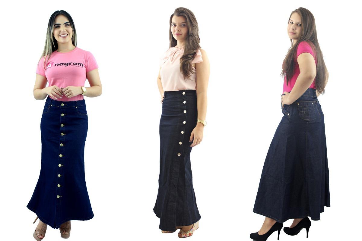 7c5d26243f kit promoção 3 saias longas jeans evangélica 12x sem juros. Carregando zoom.