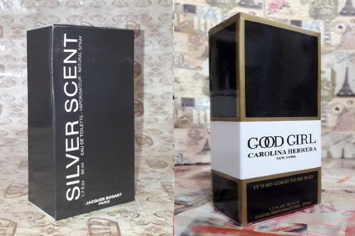 kit promoção perfumes,silver sent  mas /good girl   fem