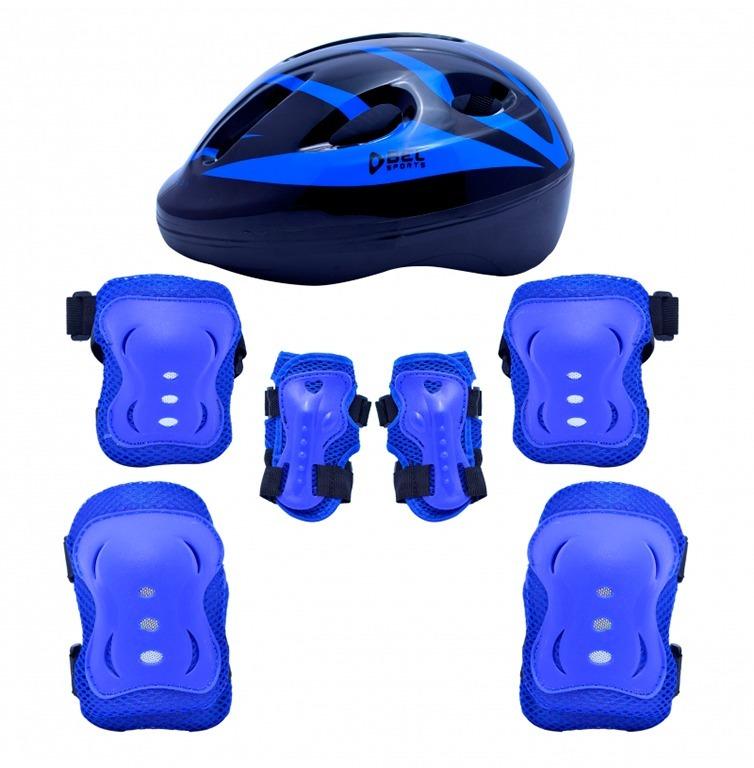 898604690 Kit Proteção 7 Itens Skate Rollers Bicicleta Patins (azul) M - R  64 ...