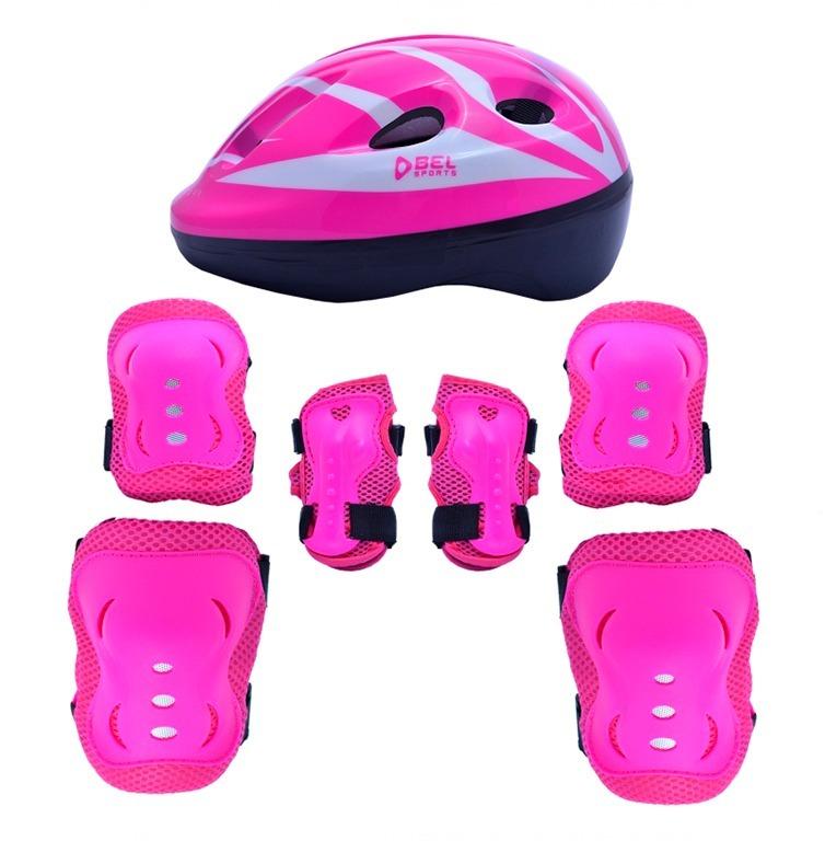 862d456bb Kit Proteção 7 Itens Skate Rollers Bicicleta Patins (rosa) M - R  64 ...