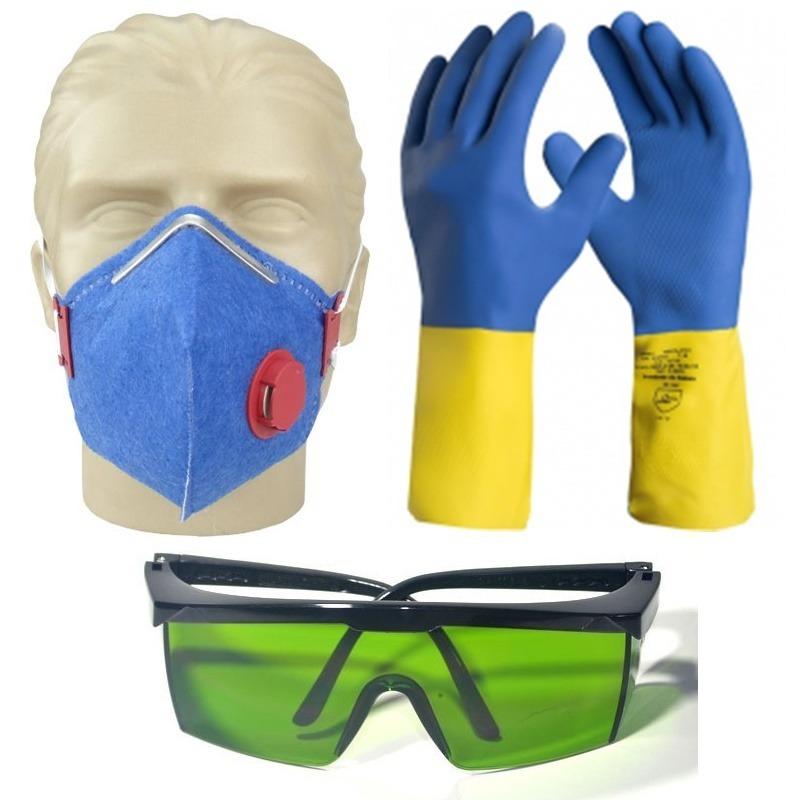 0607aedb4a887 kit proteção epi quimica pintura mascara óculos luva neopren. Carregando  zoom.