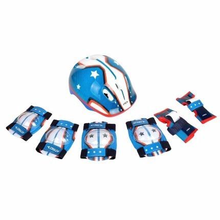 kit proteção infantil azul patins e skate profissional + n f