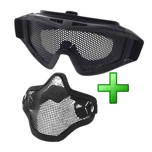kit proteção mascara e óculos tela aço airsoft - ntk tático