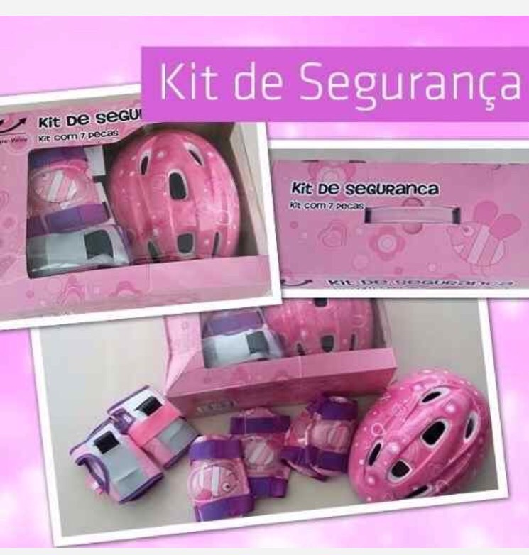 8f4e10cca kit desenho proteção infantil rosa patins skate bike · kit proteção patins  skate