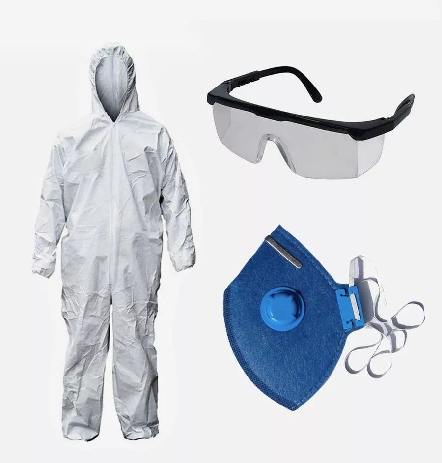 Kit Proteção Pintura Macacão   Óculos   Máscara  Luvas - R  31,98 em ... f64c078225