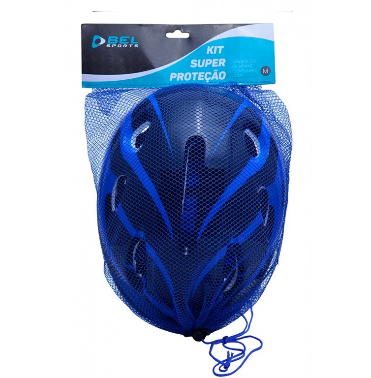e4d21b4ff kit proteção 7 itens skate rollers bicicleta patins (azul) m · kit proteção  skate