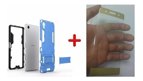 kit protector sony xperia x  armadura + vidrio 3d 100%