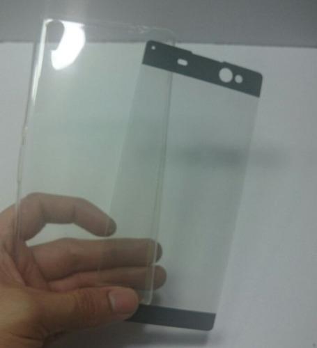 kit protector sony xperia xa ultra silicona  + templado 3d