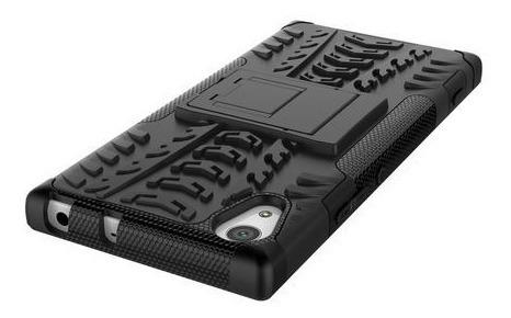 kit protector sony xperia xa1 ultra armadura neg + vidrio 3d