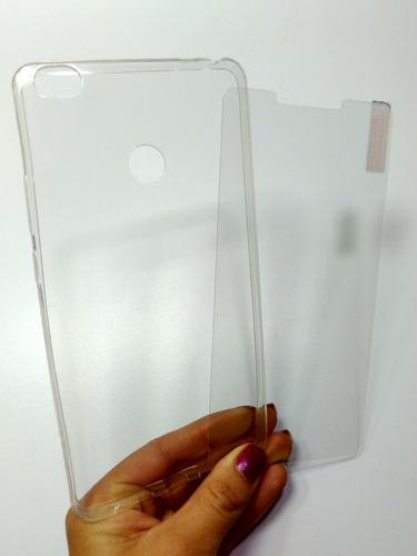 kit protector xiaomi mi max silicona + vidrio templado