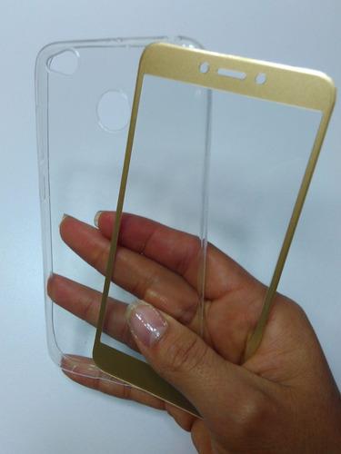 kit protector xiaomi redmi 4x silicona + vidrio curvo