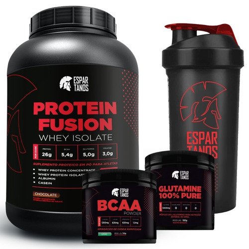 kit protein fusion whey isolate + bcaa pó + glutamina + copo