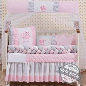f8125b1f251c6b Kit Protetor Berço 10 Peças Menina Princesa Rosa