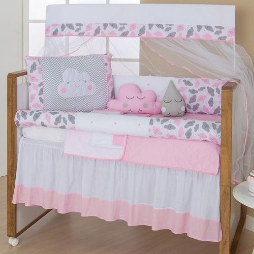 kit protetor berço 11 peças menina com nuvem rosa imperdível