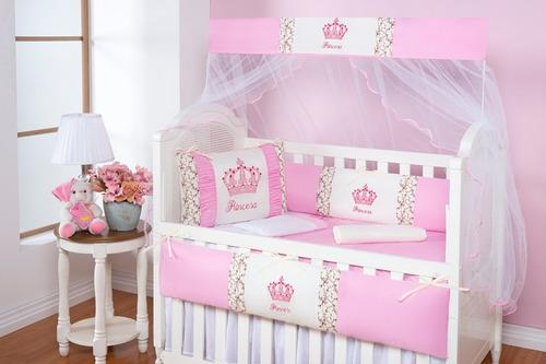 kit protetor berço americano menina rosa 9 peças princesa