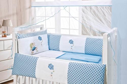 kit protetor de berço enxoval bebe menino ursinho 9 pçs 1