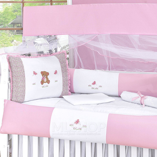 kit protetor de berço rosa ursa menina 9 peças