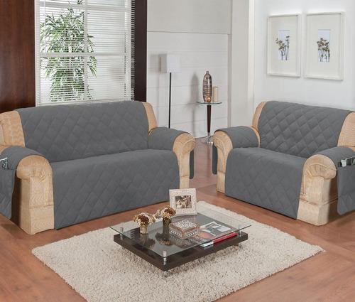 kit protetor de sofá 2x3 lugares c/ porta objetos - azul