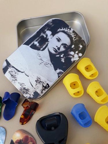 kit protetores de dedos para violão palhetas dedeiras case
