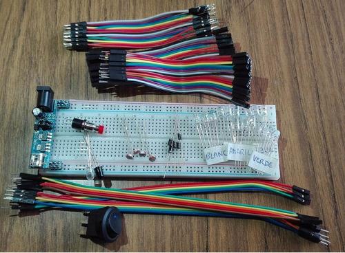 kit protoboard cable breadborad mb102 + power supply 5v 3.3v