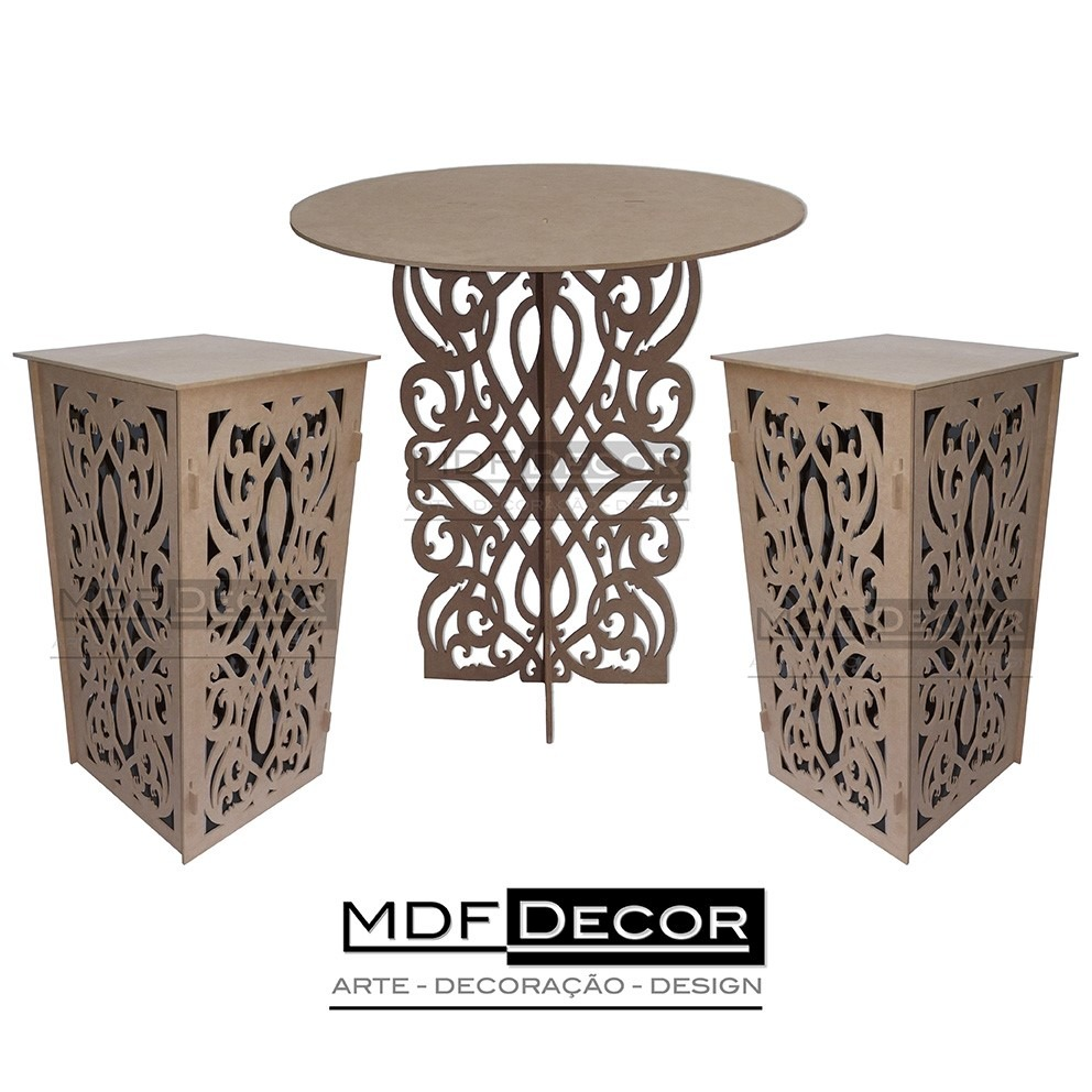 kit proven al arabesco mdf 1 mesa 2 cubos. Black Bedroom Furniture Sets. Home Design Ideas