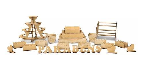 kit provençal decoração festa mdf 26 peças completo bandeja