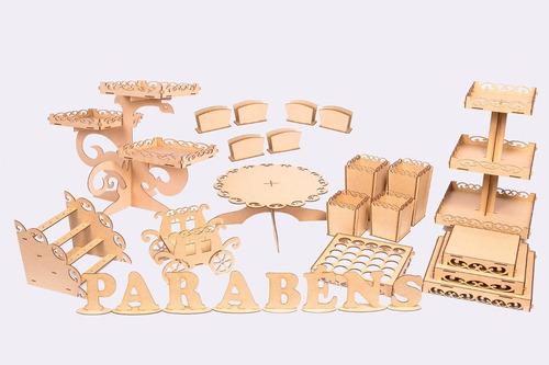 kit provençal festa aniversário decoração mdf luxo 32 peças
