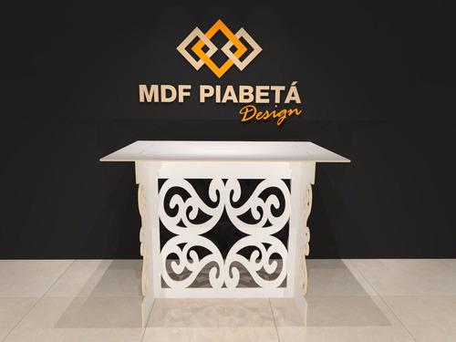 kit provençal mdf branco arabesco - decoração fest mesa cubo