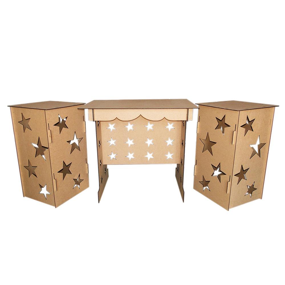 kit proven al mdf estrela festa 1 mesa 2 cubos megatudo. Black Bedroom Furniture Sets. Home Design Ideas