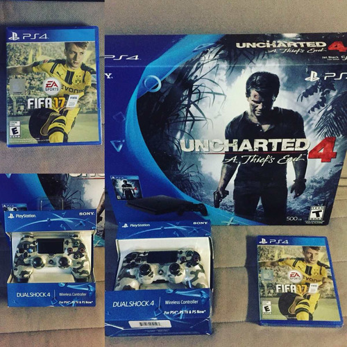 kit ps4 500gb uncharted 4, control negro + control camuflado