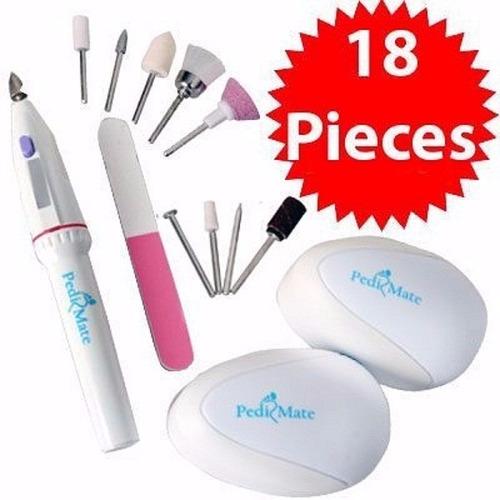 kit pulidor 18 piezas lima uñas manicure pedicure pedi mate