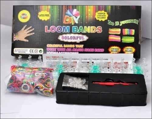 kit pulseira 600 elásticos silicone loom band