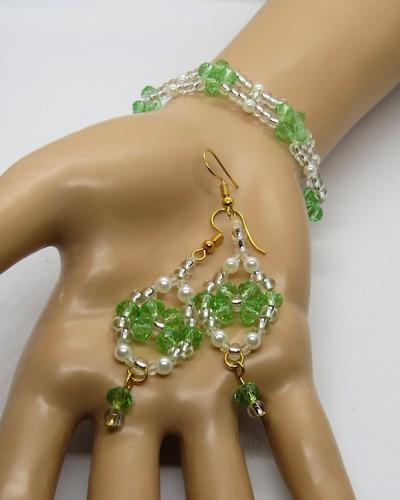 kit pulseira + brinco cristais e perola para presente festas