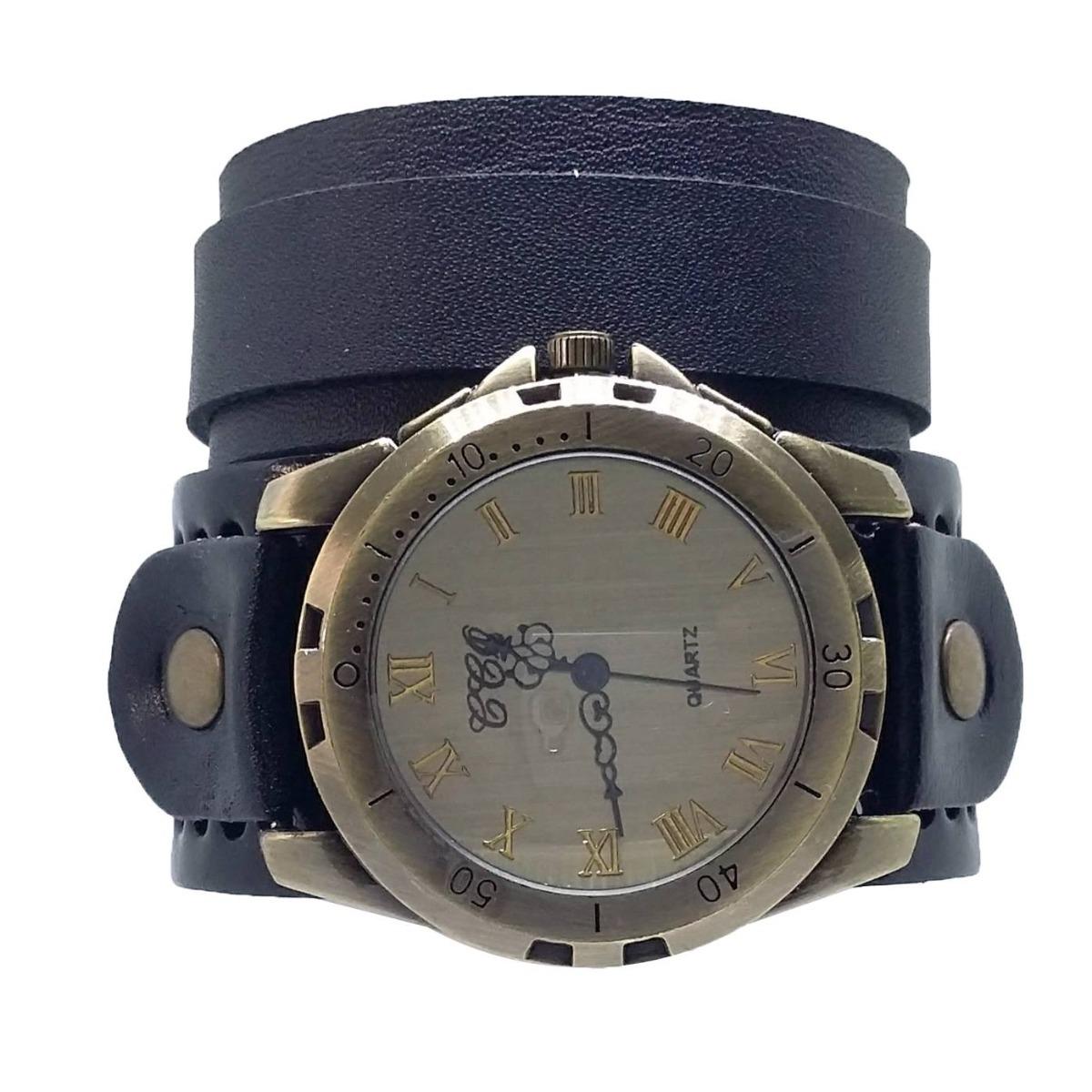 9bbaae56938 kit pulseira e relógio vintage masculino de couro preto. Carregando zoom.